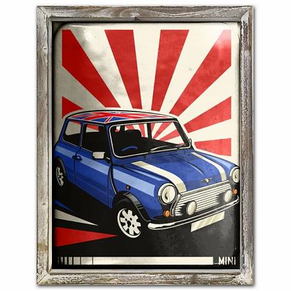 Mini Vintage 44cm x 34cm Wood Framed Metal Art