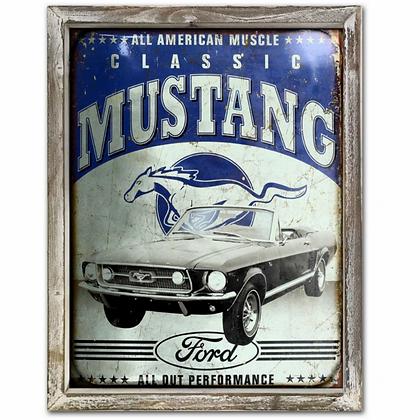 Mustang Vintage 44cm x 34cm Wood Framed Metal Art