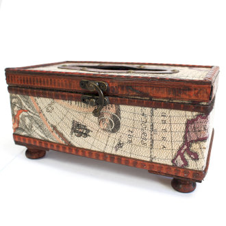 Old Map Tissue Box