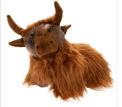 Faux Leather Highland Cow Doorstop