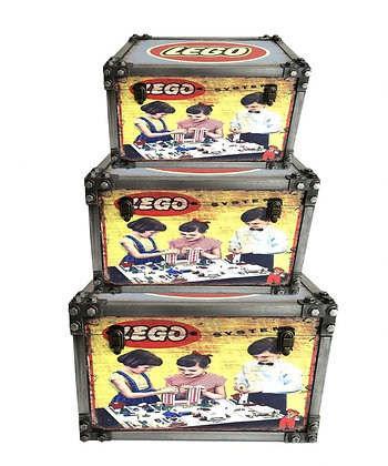 Lego Set Of 3 Metal Effect Strapped Trunks
