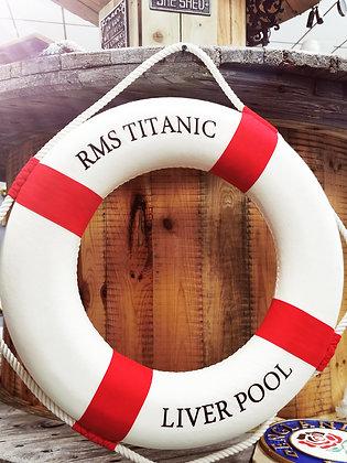"RMS Titanic Decorative Lifering 20"" - Red"