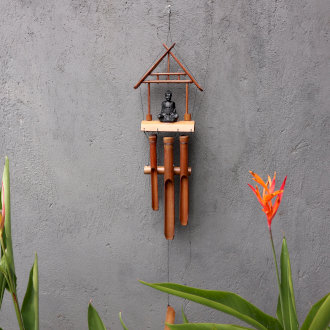 Bamboo Windchime - Black Buddha 6 tubes