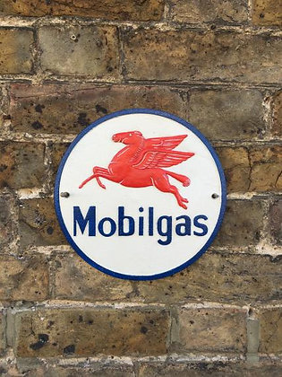 Cast Iron Mobilgas wall plaque