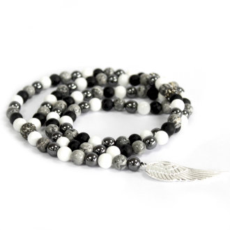 Angel Wing Grey Agate Necklace