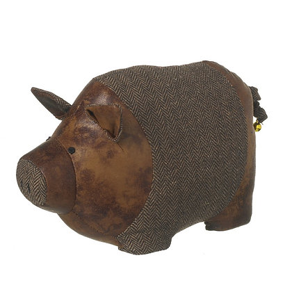 Faux Leather and Tweed Pig Doorstop