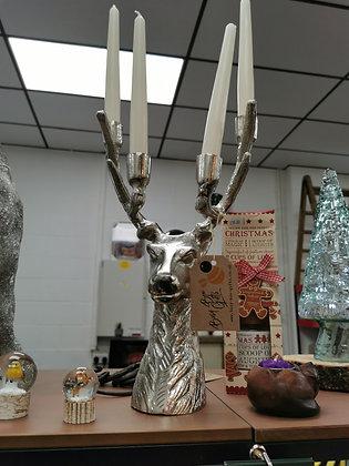 Cast Aluminium Stag Head candle holder