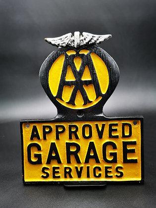 AA Plaque Approved Garage Services Cast Aluminium