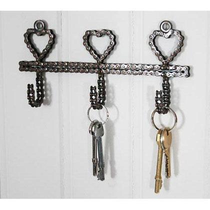 Recycled Heart bike chain hooks