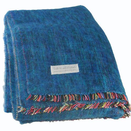 100% Alpaca Travel Blanket in Ocean