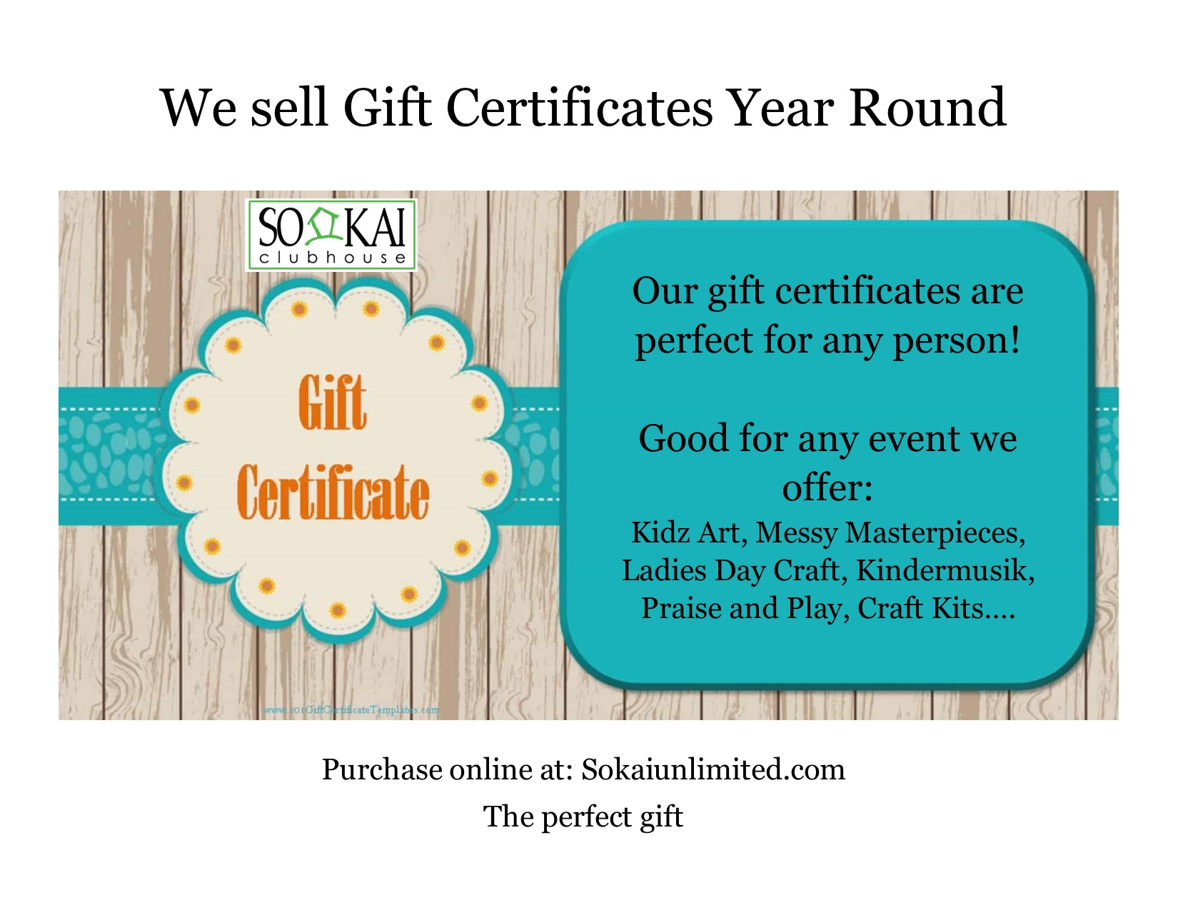 Gift Certificates anytime