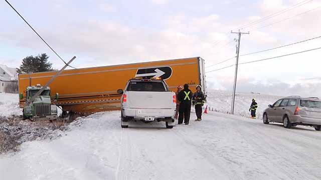 Sortie de route d'un camion à St-Éva