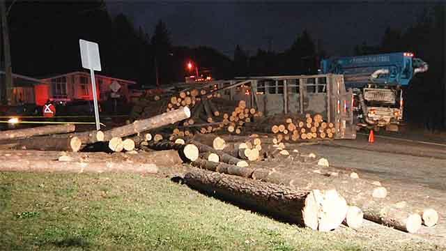 Un camion de bois se renverse