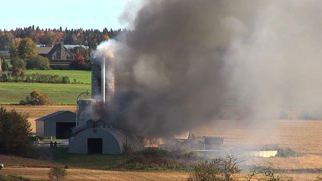 Le feu détruit une porcherie à Saint