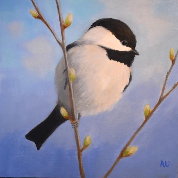 "Spring Chickadee 12"" x 12"" - sold"
