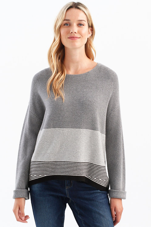 Charlie B - Grey Stripe Sweater
