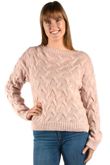 Catherine Lillywhite - Pink Cable Knit Sweater with Silver