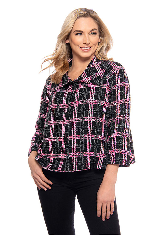 Trisha Tyler - Button Collar Short Jacket in Black Multi