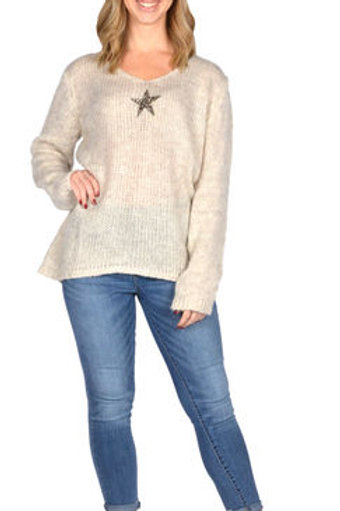 Catherine Lillywhite - Ivory V-Neck Sweater with Star