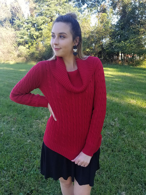The Fashion Gallery - Red Cowl Cable Knit Sweater