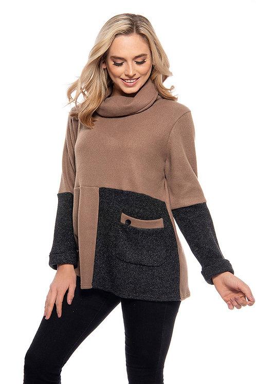 Trisha Tyler - Camel & Charcoal Cowl Neck Sweater