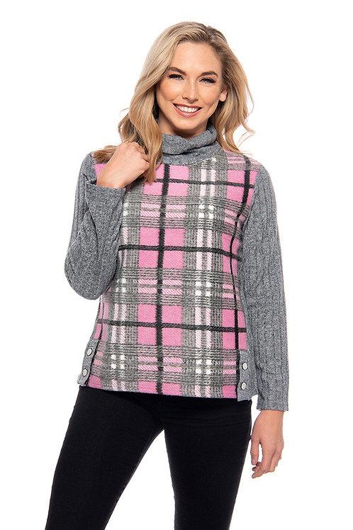 Trisha Tyler - Pink & Grey Plaid Ribbed Sweater