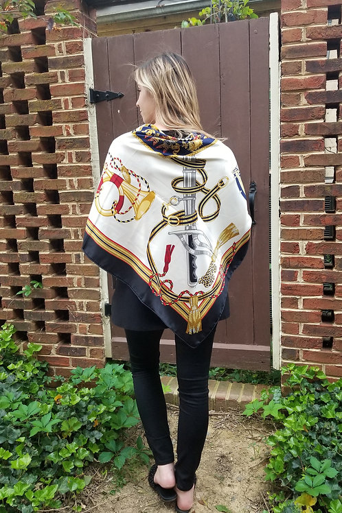 Silk Scarf/Evening Shawl - Navy, Red, & Gold Shield