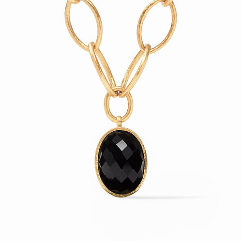 Julie Vos - Fleur-de-Lis Statement Necklace: Obsidian Black