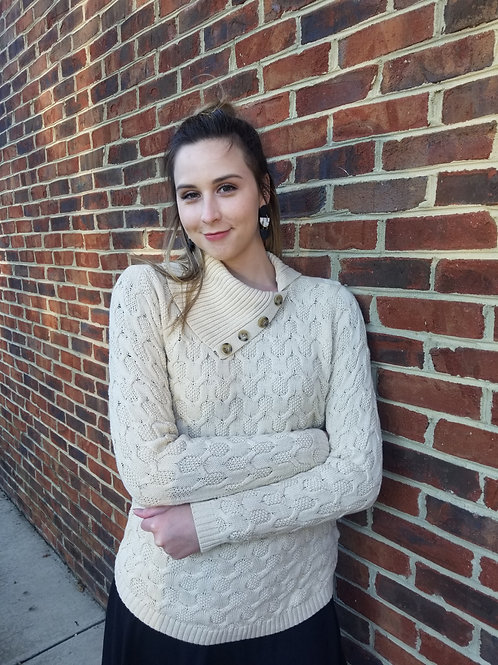 The Fashion Gallery - Ivory Cowl Cable Knit Sweater