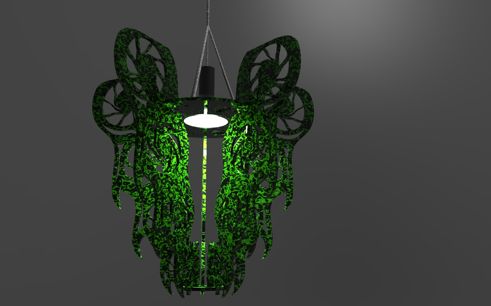 Final render black with green viens