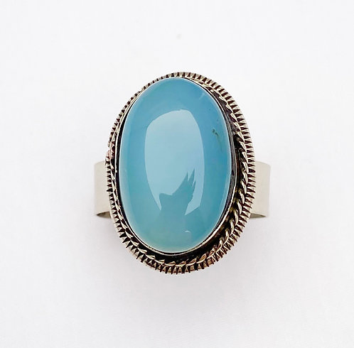 Sky Blue Agate Stone Ring