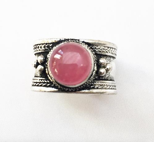 Small Rose Pink Tibetan Ring