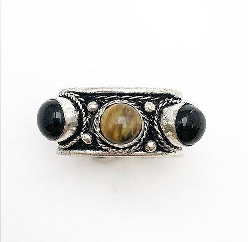 Tigers Eye & Black Obsidian Tikadee Ring