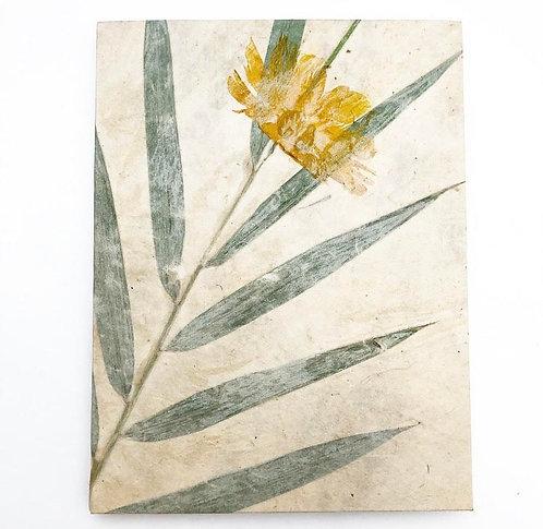Yellow Pressed Flower Notebook