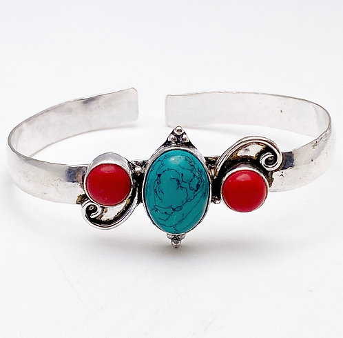 Turquoise & Coral Patthar Cuff