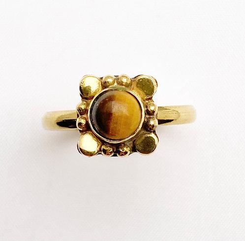 Tigers Eye Brass Varg Ring