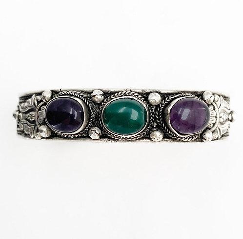 Green Jasper & Amethyst Tripal Bracelet