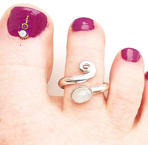 Moonstone Spiral Toe Ring