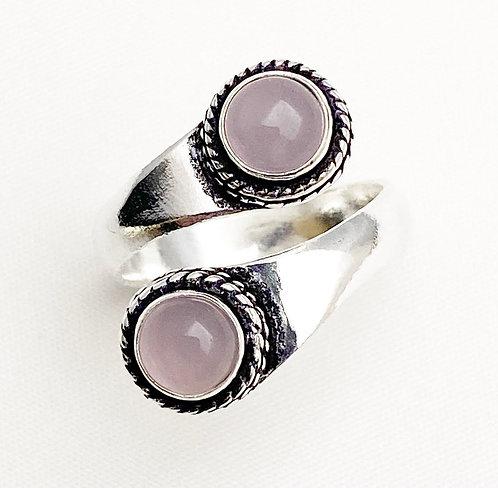 Rose Quartz Twist Ring