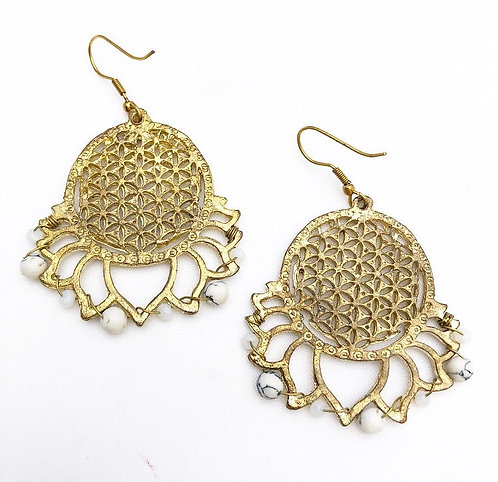 White Bead Flower of Life Earrings