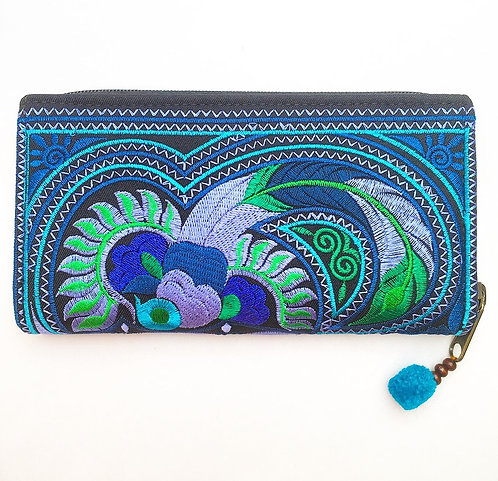 Blue Feather Hmong Purse