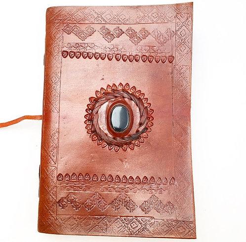 Onyx Filigree Leather Wrap Journal