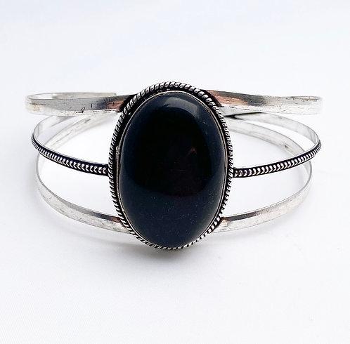 Black Agate Large Stone Cuff