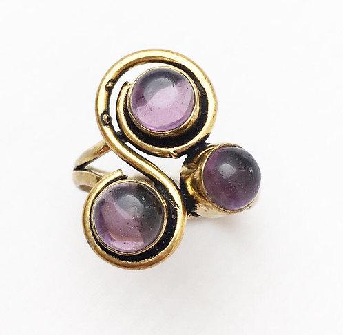 Amethyst 3 Stone Ring
