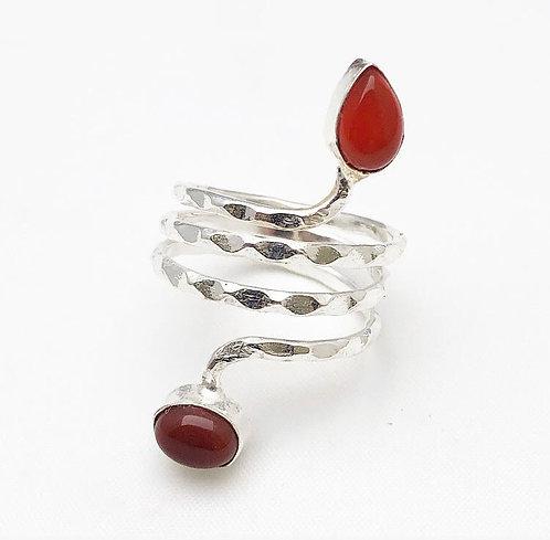 Carnelian Silver Ghuma Ring