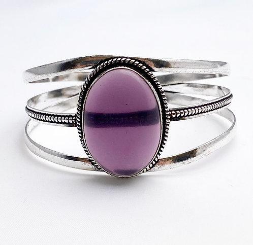 Purple Agate Large Stone Cuff
