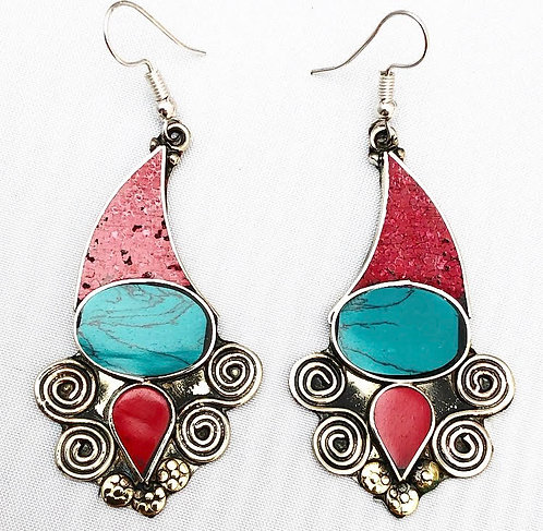 Turquoise & Coral Bayana Earrings