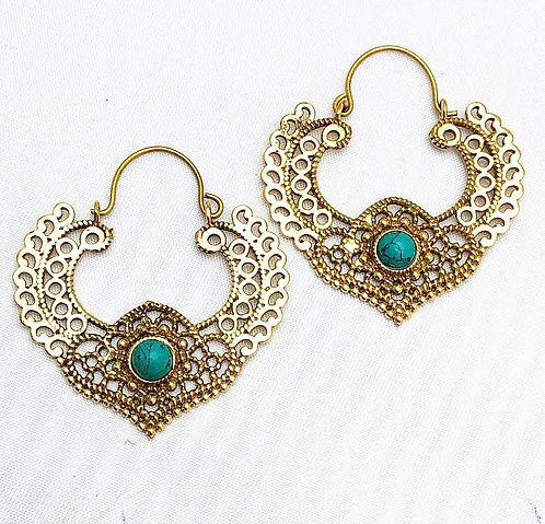 Turquoise Natakiya Brass Earrings