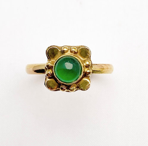 Green Jasper Brass Varg Ring