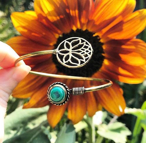 Malachite Brass Lotus Bracelet